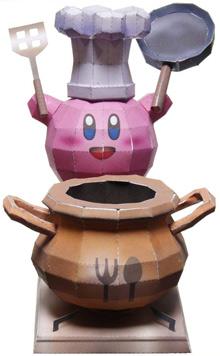 Papercraft imprimible y armable de Kirby cocinero de Nintendo. Manualidades a Raudales.